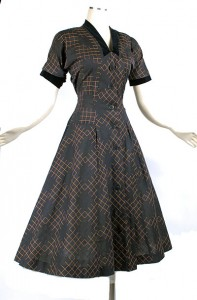 50's Black Pink Plaid Full Skirt Dress with Velvet