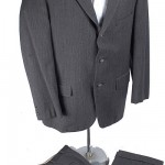 1950's Gray Red Striped Wool Suit