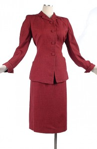 40's Red/Black Tapered Art Deco Suit