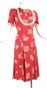 30's Red and White Daisy Print Dress with Ruffles