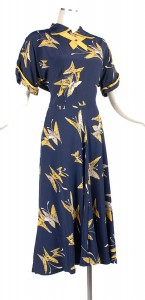 40's Blue and Yellow Rayon Dress - Butterly Novelty Print!  Hello!