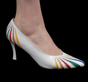 Vintage 80's White Rainbow Inset Leather Pumps