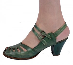 Vintage 30's Green Leather Art Deco Pumps