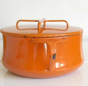 Vintage Dansk Enamel Saucepan/Pot - Orange!