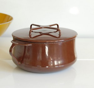 Vintage Dansk Brown Enamel Saucepan Pot