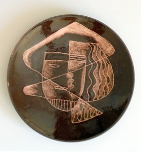 "Vintage 50's ""Handmade by Hilary"" Enamel on Copper Modernist Plate"