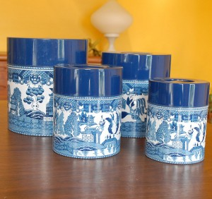 Vintage 60's Blue Willow Metal Nesting Canisters (not Danish Modern, but still cool).