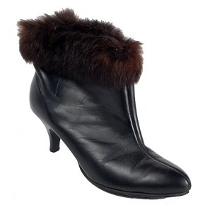 Vintage 80's Black Fur Trim High Heel Boots