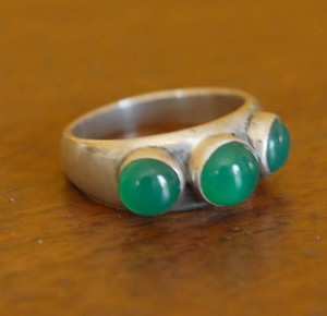 60's Green Glass/Sterling Ring