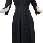 1940's Black Slubbed Shirtwaist Dress