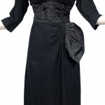 Vintage 50's Black Party Dress w/Taffeta Swag